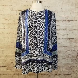 LOFT Floral Scroll Mixed Print Pullover Blouse